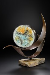 """Etching"" pate de Verre glass & steel by Lin McJunkin"