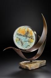 """""""Etching"""" pate de Verre glass & steel by Lin McJunkin"""