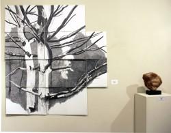 Donna Leavitt, graphite drawing & Sabah Al-Dhaher sculpture