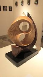 "Randal Leek ""Sailing Moon"" ash & alabaster, black walnut base 12x9x5  $520"