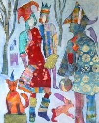 "Judith Heim""Fox and Hare"" mixed media 30 x 24."