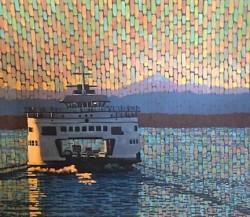 """Sunset Ferry"", egg tempera 38 x 45  Jack Gunter $4500"