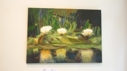 "Irena Jablonski ""Yellow Water Lilies"" oil on canvas 20 x 30 $1400."
