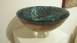 Hiroshi Yamano Fish Bowl (Blues) blown glass, etched silver leaf $2500.