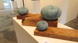 "Jan Hoy, ""Gradation"", Clay on Maple 8"" x 15"" x 14"" $1300."