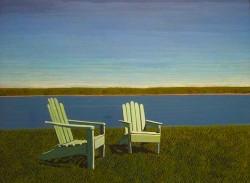 Adirondack Chairs, 36 x 48 egg tempera by Jack Gunter $4400