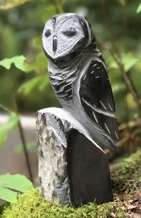 """Owl"", carved basalt 10 x 3.75 by Josh Henrie"